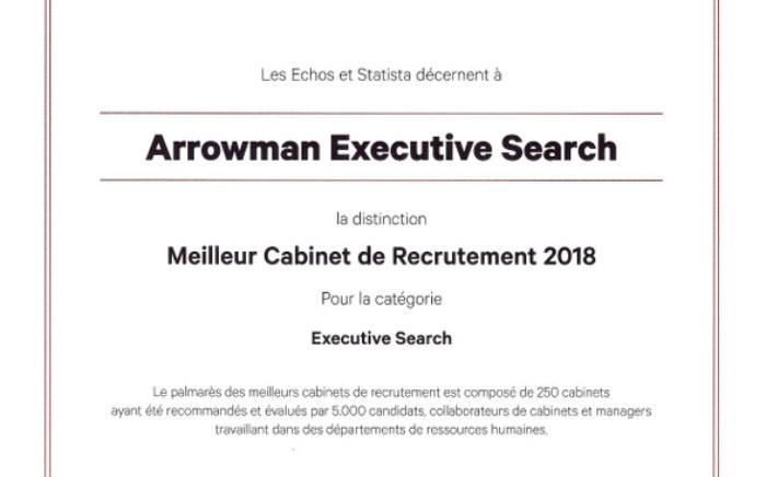 - ARROWMAN Executive Search parmi les meilleurs cabinets selon les Echos 2018 !