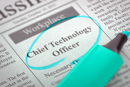 Chief Technology Officer - Job Vacancy in Newspaper, Circled with a Azure Marker. Blurred Image. Selective focus. Job Seeking Concept. 3D Illustration.