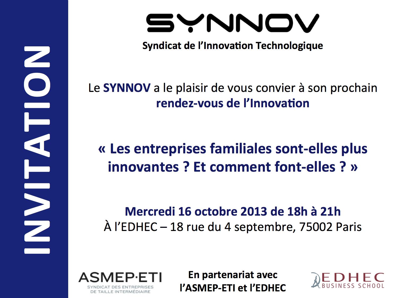 Invitation aux rendez vous de l'innovation du SYNNOV (Syndicat de l'Innovation Technologique)