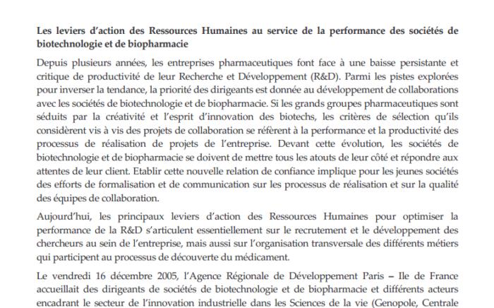- Les leviers d'action des RH dans la Biotechnologie