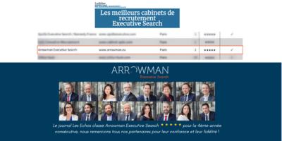 Arrowman Executive Search classé par le journal Les Échos parmi les meilleurs cabinets d'Executive Search en France.